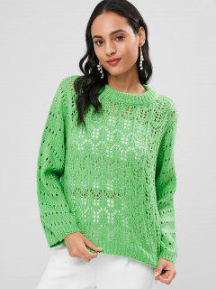Open Knit Sweater Jumper - Green L