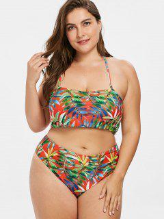 Leaf Print Plus Size Bandeau Bikini Set - Multi 1x
