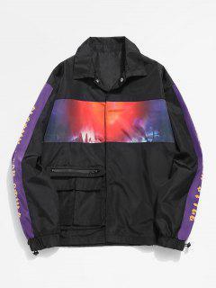 Patchwork Pocket Snap Button Jacket - Black 2xl
