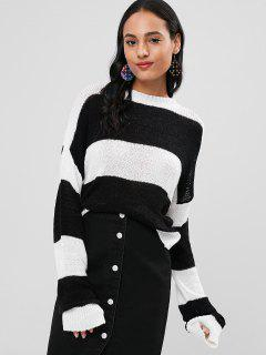 Lose Strick Streifen Sweater - Multi