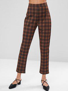 Straight Plaid Pants - Coffee L