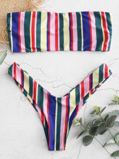 Conjunto De Bikini A Rayas Coloridas Sin Tirantes - Multicolor L