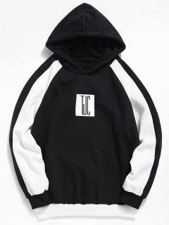 Color Block Graphic Pullover Hoodie - Black S