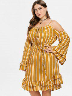 Ruffled Flare Sleeve Plus Size Striped Dress - School Bus Yellow 1x