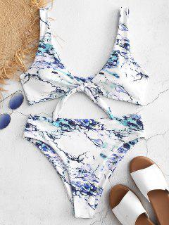 Marmor Geknotete Bikini-Set Mit Hoher Taille - Weiß L