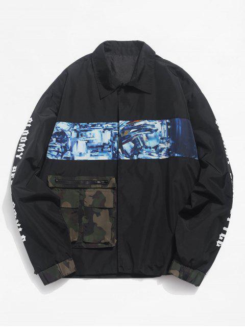 unique Contrast Patch Snap Button Waterproof Jacket - BLACK L Mobile