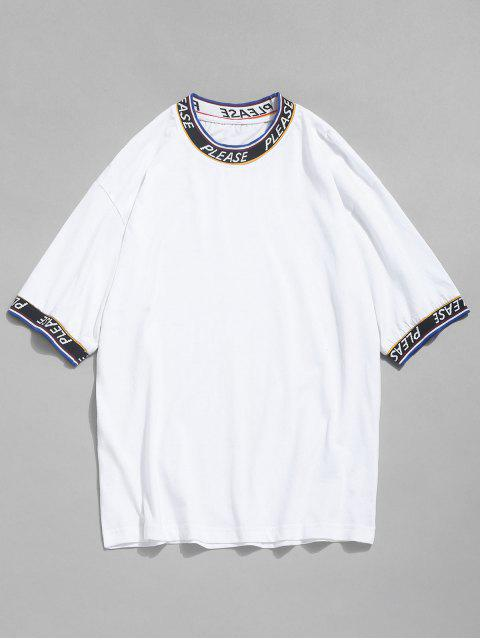 buy Letter Tape Elastic Patch T-shirt - WHITE L Mobile