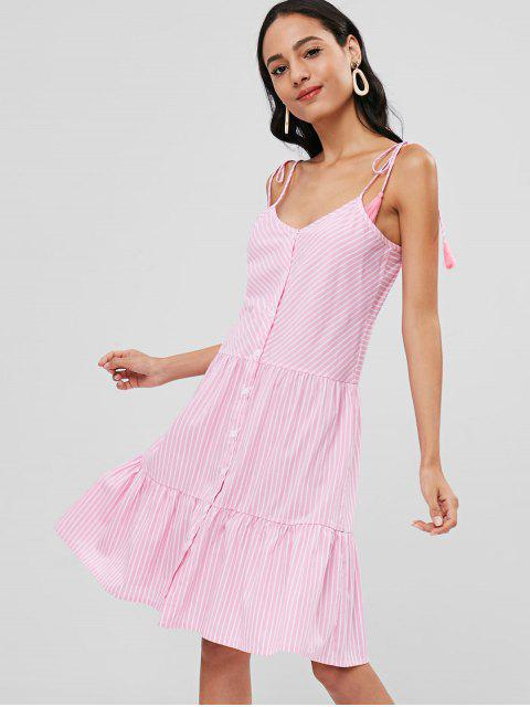 online Striped Tie Shoulder Button Up Dress - PINK M Mobile