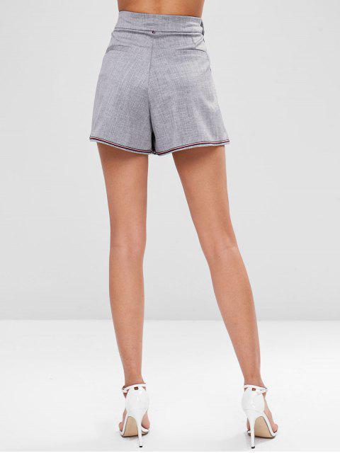 Short Plissé en Avant avec Poches à Taille Haute - Gris M Mobile