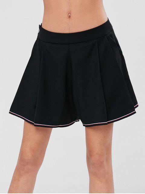 Pantalones cortos de talle alto con bolsillos delanteros plisados - Negro M Mobile