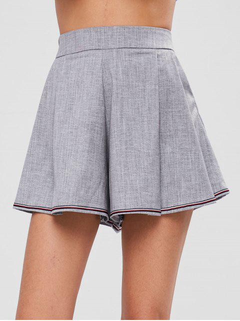 women Pleated Front Pockets High Waisted Shorts - GRAY L Mobile