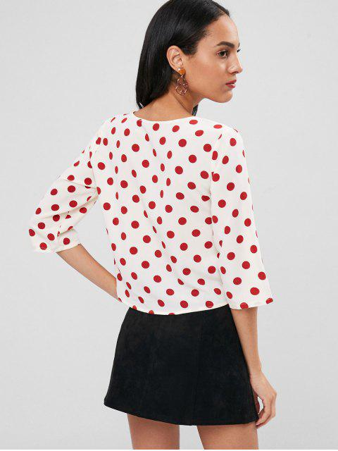 ladies Ruched Front Polka Dot Top - MULTI M Mobile