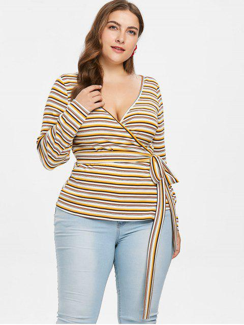 shops Plus Size Striped Knit Wrap T-shirt - MULTI 4X Mobile