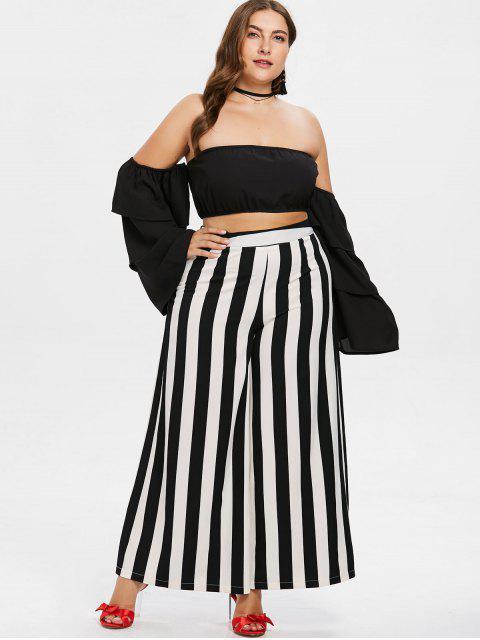 Conjunto de pantalón de rayas y top con diseño bandeau talla grande - Negro L Mobile