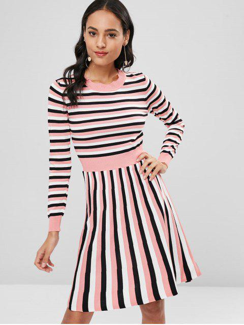online Striped Knitted A Line Dress - PIG PINK ONE SIZE Mobile