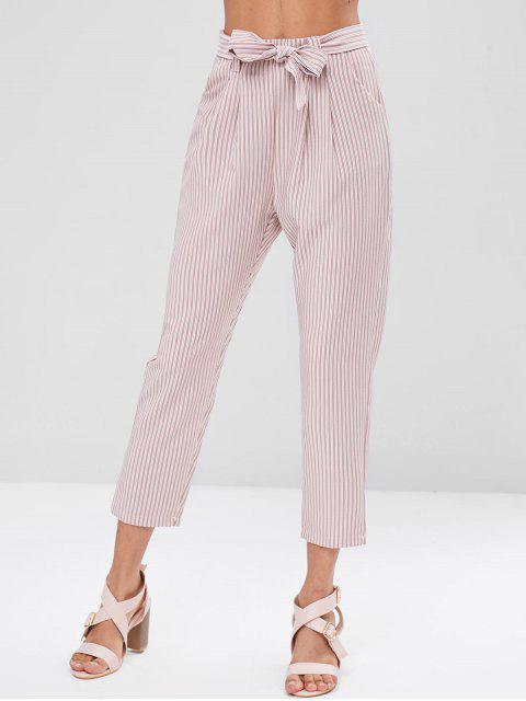 Pantalon Droit Ceintuiré Rayé - Rose Kaki L Mobile