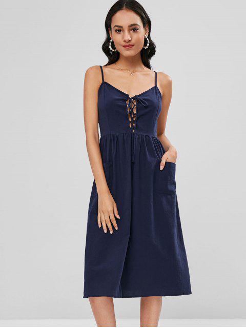 Robe Mi-Longue à Bretelle Patch avec Poches à Lacet - Bleu profond L Mobile
