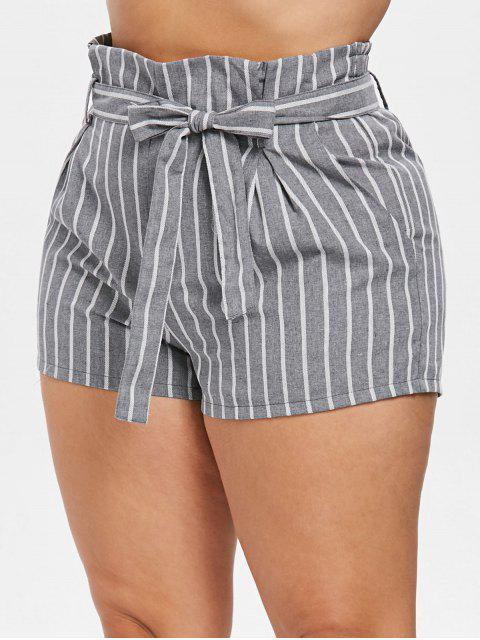Shorts Sac en Papier Rayé Ceinturé de Grande Taille - Multi 2X Mobile