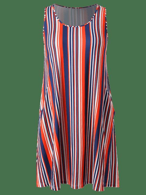 women Plus Size Sleeveless Striped Dress - MULTI 1X Mobile
