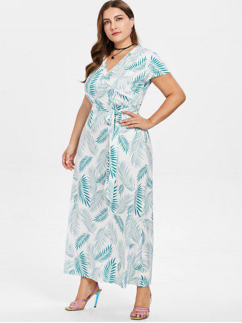 online Plus Size Plant Print Maxi Dress - GREEN 4X Mobile