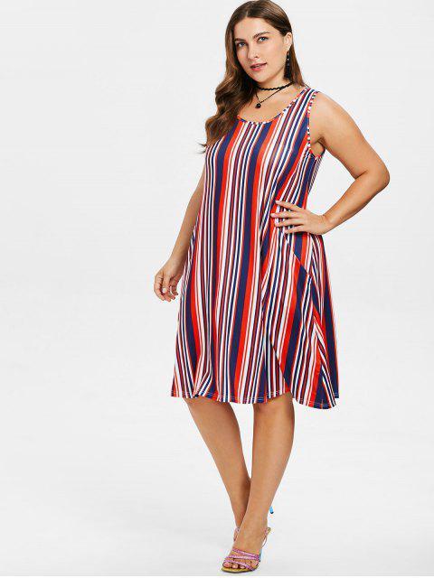 hot Plus Size Sleeveless Striped Dress - MULTI 2X Mobile