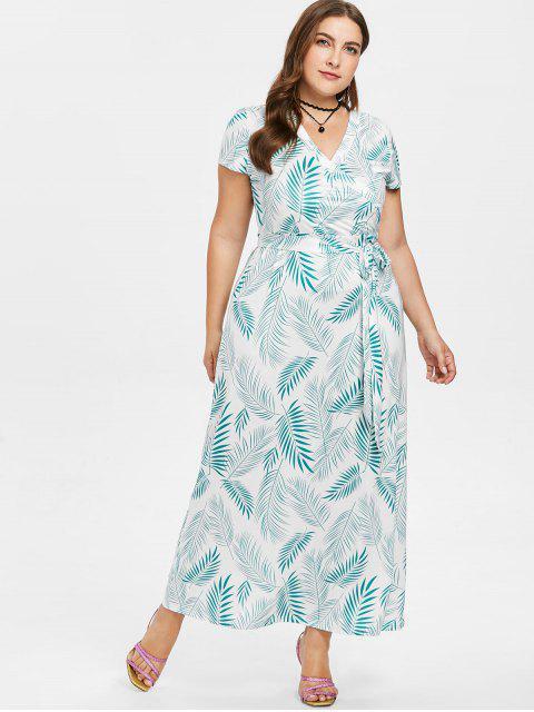shop Plus Size Plant Print Maxi Dress - GREEN 5X Mobile