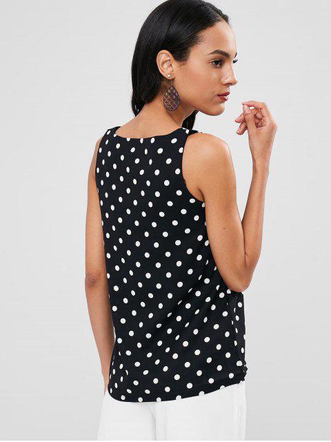 Camiseta sin mangas con cuello en V y lunares - Negro Talla única Mobile