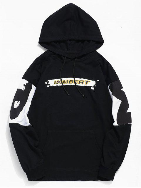 lady Contrast Letter Graphic Print Hoodie - BLACK L Mobile