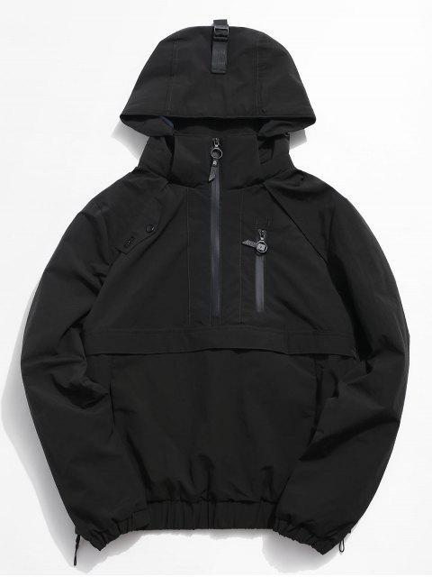 women Half Zip Pocket Rain Jacket - BLACK XL Mobile