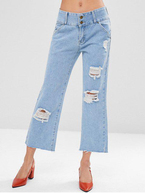 new Ripped Cropped Jeans - DENIM BLUE L Mobile