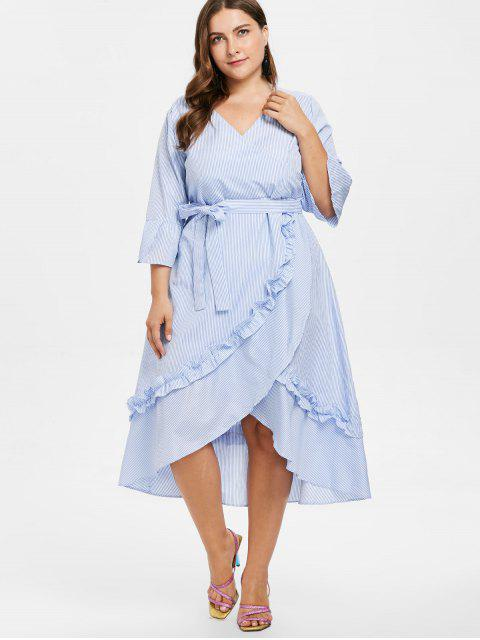 chic Plus Size Striped Ruffles Belted Dress - LIGHT BLUE 1X Mobile