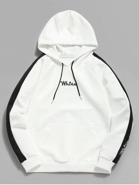 sale Contrast Embroidery White Pocket Fleece Hoodie - WHITE S Mobile