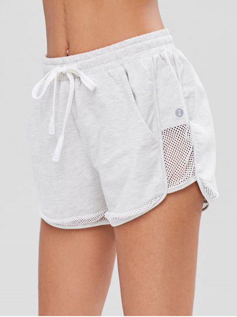 trendy Fishnet Panel Heather Sports Shorts - GRAY S Mobile