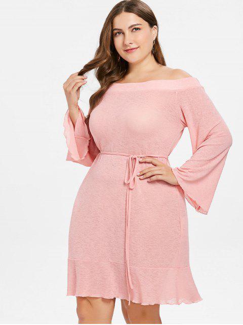 Robe Droite Nouée à Epaule Dénudée de Grande Taille - Rose Léger  4X Mobile