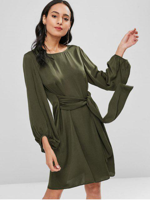 trendy Long Sleeve Knotted Casual Dress - ARMY GREEN L Mobile