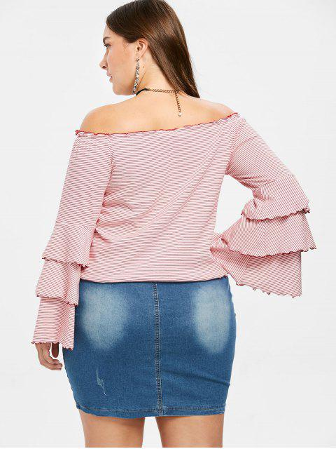online Plus Size Striped Tiered Flare Sleeve Tee - MULTI 1X Mobile