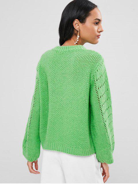 shop Open Knit Sweater Jumper - GREEN L Mobile