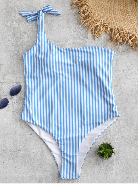 Traje de baño de talle alto a rayas con lazo en el hombro - Azul Cristal L Mobile