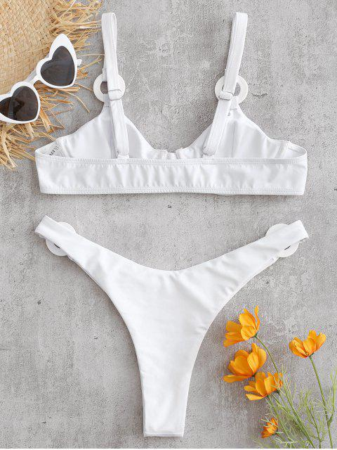 lady Underwire Ring Embellished Bikini Set - WHITE L Mobile