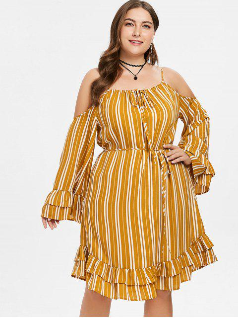 women's Ruffled Flare Sleeve Plus Size Striped Dress - SCHOOL BUS YELLOW 1X Mobile