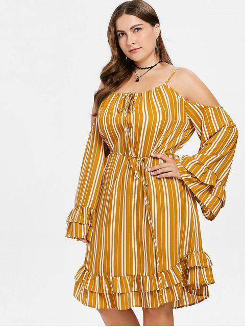 lady Ruffled Flare Sleeve Plus Size Striped Dress - SCHOOL BUS YELLOW 3X Mobile