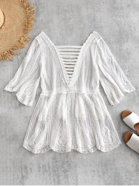 new Embroidered Sheer Tunic Top - WHITE ONE SIZE Mobile