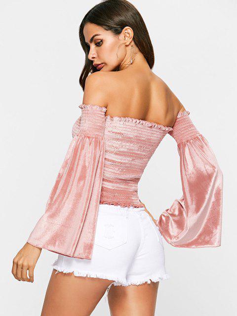 women Off Shoulder Velvet Bell Sleeve Smocked Top - ROSE S Mobile