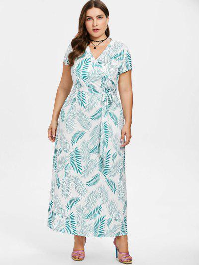 9fd5c735ac7 ... Plus Size Plant Print Maxi Dress - Green 1x