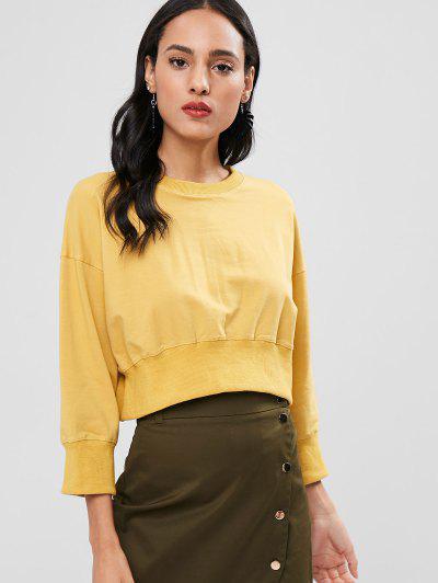 Crop Drop Shoulder Sweatshirt - Goldenrod