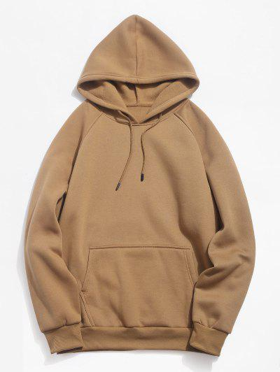 Basic Solid Pouch Pocket Fleece Hoodie - Camel Brown L