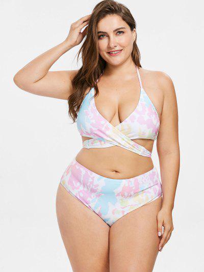 a85ea35fa2 ... Colorful Plus Size Wrap Bikini Set - Multi L