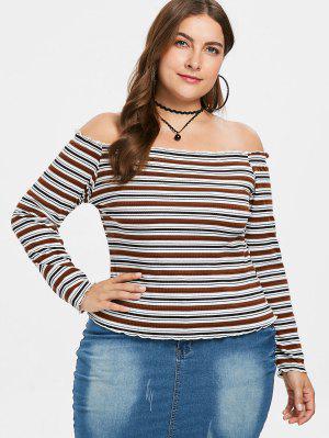 Schulterfreies Übergroße Gestreiftes Strick T-Shirt