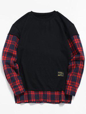 Check Patchwork gefälschte zwei Stück Sweatshirt