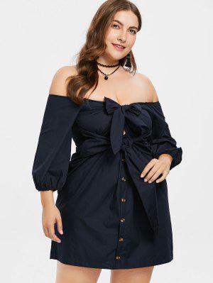 Vorderknoten Übergröße Schulterfreies Kleid